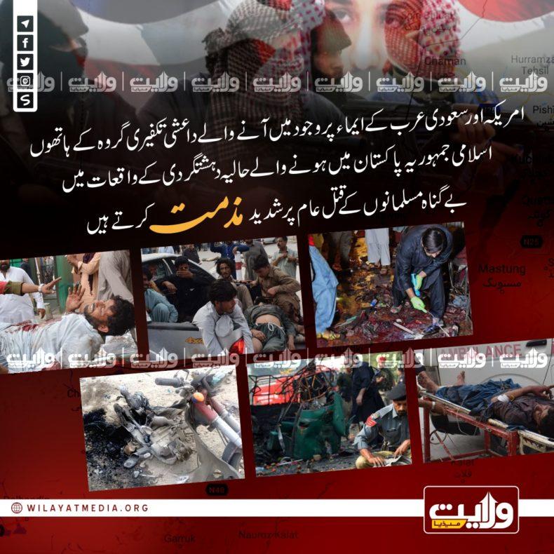پاکستان میں حالیہ دہشتگردی کی شدید مذمت کرتے ہیں