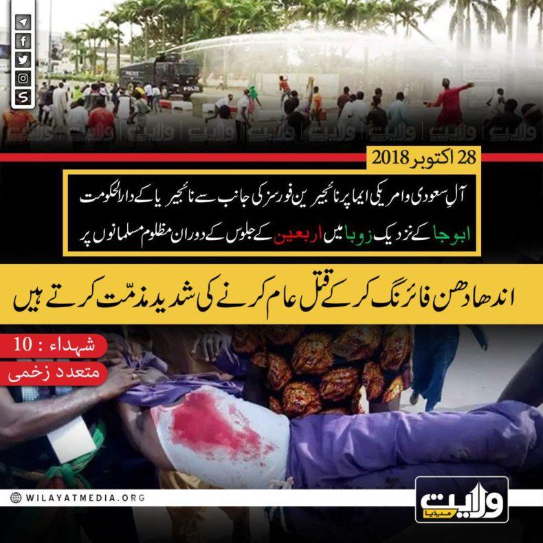 نائجیرین مسلمانوں کے قتل عام کی شدید مذمّت