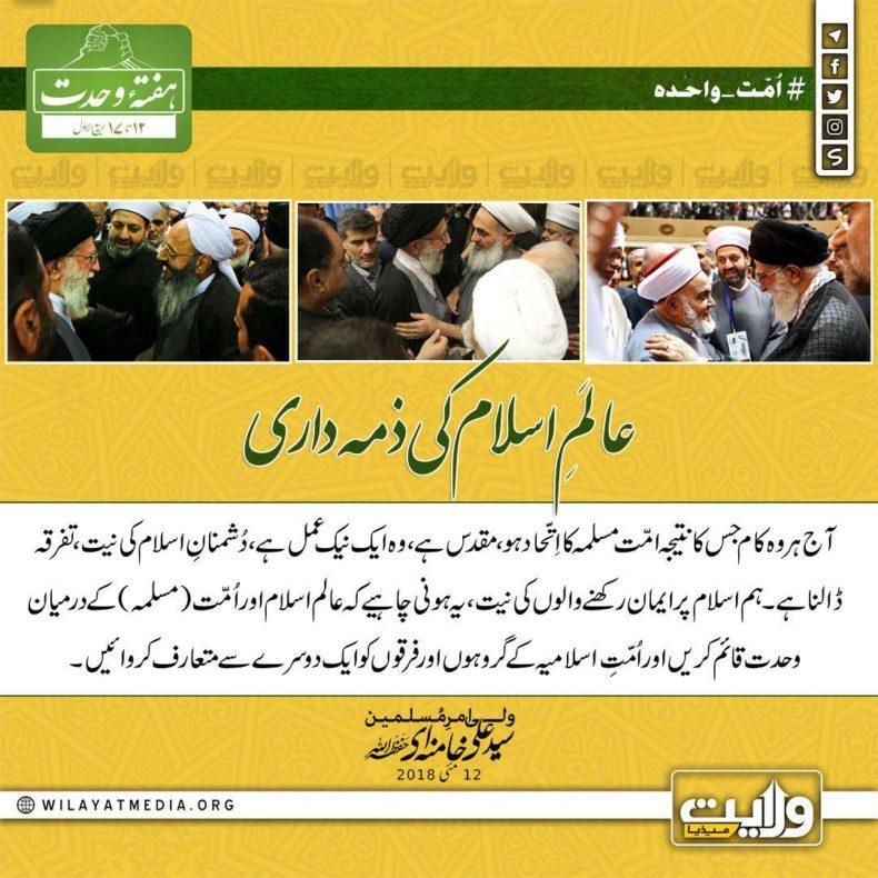 عالَمِ اسلام کی ذمہ داری