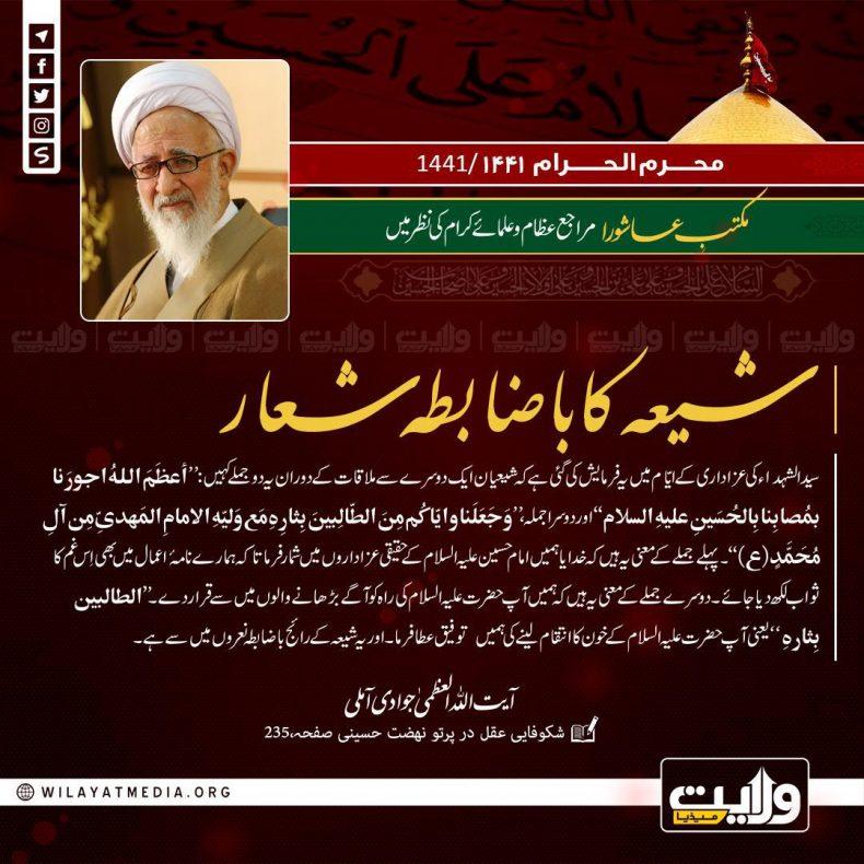 مکتبِ عاشورا مراجع عظام اور علمائے کرام کی نظر میں | شیعہ کا باضابطہ شعار
